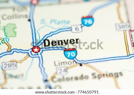 Denver Usa On Map Stock Photo Edit Now 774650791 Shutterstock