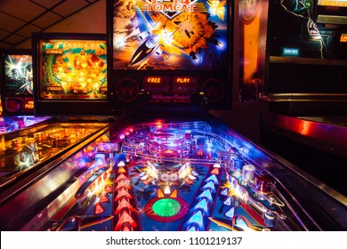 Denver, USA -  September 12, 2017:  Detail of a Pinball Arcade Game Tomcat in a Dark Gaming Bar on a Reed St, Denver