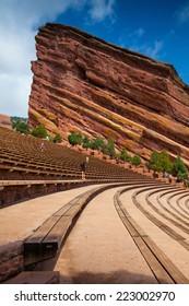DENVER-COLORADO: July 21, 2013: Red Rocks Amphitheater.Famous Historic Red Rocks Amphitheater near Denver, Colorado, .