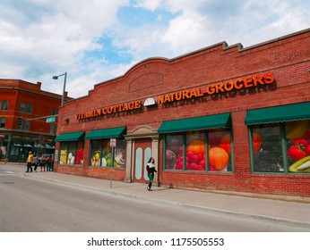DENVER,COLORADO/USA - APRIL 8, 2017: Natural Grocers which is a valued community grocery store providing organic produce, dietary vitamins and supplements, body care and free nutrition education