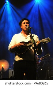 DENVER-JUNE 15:	Vocalist/Guitarist/Percussionist Marcus Mumford of the Folk Rock band Mumford & Sons performs in concert June 15, 2011 at the Fillmore Auditorium in Denver, CO.