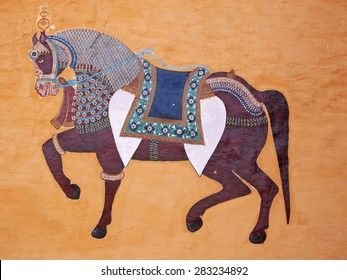 DEOGARH, INDIA - MARCH 7, 2015: A horse depicted in a wall painting at Deogarh Mahal typical of traditional Rajasthani murals and miniature art with their high level of detail