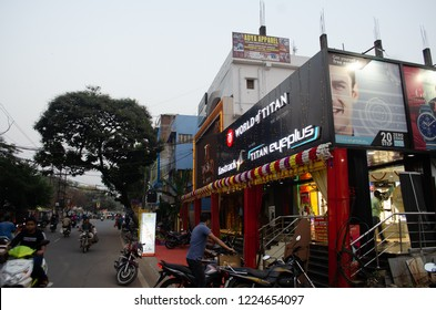DEOGHAR, JHARKHAND INDIA- NOVEMBER 2018: Titan. Deoghar a ten and Timex showroom in Deoghar. The temple town is getting urbanized at a fast pace.