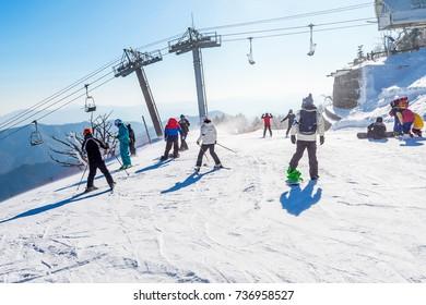 DEOGYUSAN,KOREA - FEBRUARY 9: Skier skiing on Deogyusan Ski Resort in winter,South Korea on February 9,2016.