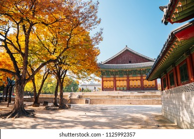 Deoksugung Palace with autumn maple in Seoul, Korea