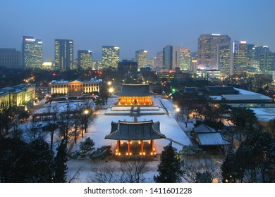 Deoksugung palace snow-covered night view - Seoul, Korea
