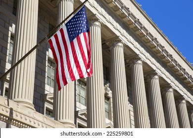 Department of commerce washington dc, America.  American flag flying.