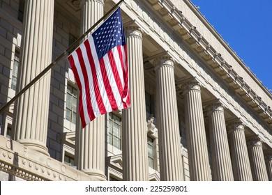 Department of commerce washington dc, America.  American flag flying.