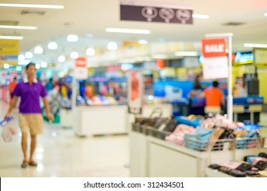 Department store blur background with bokeh image .