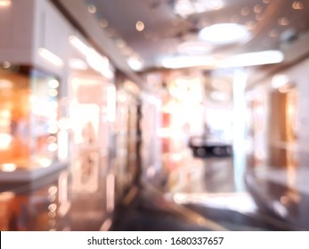Department store Blurred background. Luxury brand shopping business fashion boutique decor interior.