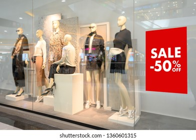 Department store with sale discount sign in shop  Sale sign  Sale concept