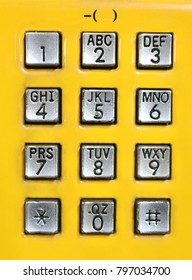Department Stores, MRT, hospitals, offices, public telephones set up, need to coin to call. Metallic number buttons, with yellow background. Emergency contact easy to use.