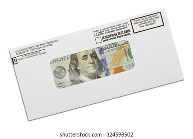 Department of the Treasury Envelope with Money Inside Isolated on White Background.