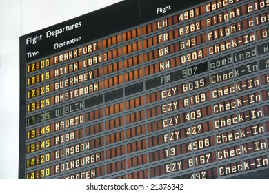 Departure board at Bristol International Airport (BRS)