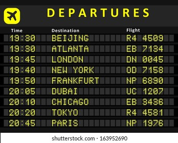 Departure board - destination airports. Busiest airports in the world: Beijing, Atlanta, London, New York, Frankfurt, Dubai, Chicago, Tokyo and Paris.