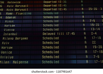 Departure board at international airport