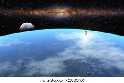 """Departure to Moon - """"Elements of this image furnished by NASA"""""""