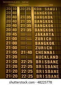 Departure schedule board in asian airport