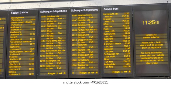 Departure Table at Waterloo Station - LONDON / ENGLAND - SEPTEMBER 15, 2016