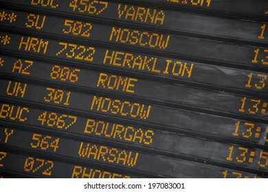 Departure/Arrivals  board at International Airport