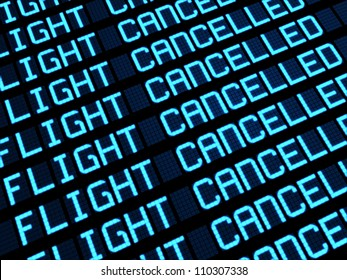 Departures board at airport terminal showing cancelled flights because of strike. Travel unforeseen concept, 3d rendering.