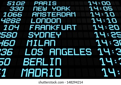 Departures display board at airport terminal showing international destinations flights to some of the world's most popular cities. Business or leisure travel concept, 3d rendering.