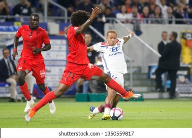 Depay Memphis of Lyon and Costa Santos Dante of Nice during French championship match between Olympique Lyonnais and Amiens 8/12/2018 Groupama stadium Decines Charpieu Lyon France
