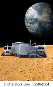 A depiction of a base on a hostile and barren moon. The moon's Earth-like planet rises in the background. The small colony is equipped with two rovers.  -  Elements of this image furnished by NASA