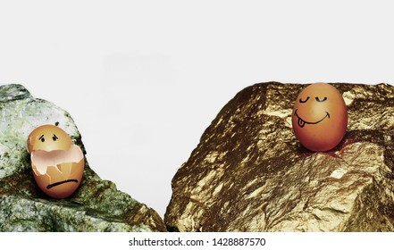 A Depiction of Eggs on the Rocks, Showing a Whole Egg on a Golden Rock Next to a Broken Cracked Shell on a Bland Dirty Stone.