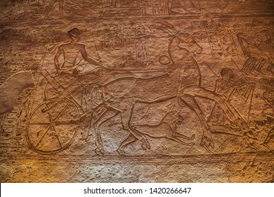 Depiction of Ramesses II in a chariot at the battle of Kadesh in the Great Temple of Abu Simbel