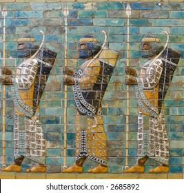 Depiction in relief sculpture of ancient Assyrian warriors