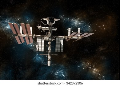 A depiction of the space shuttle docked at a space station on a background of stars. -  Elements of this image furnished by NASA
