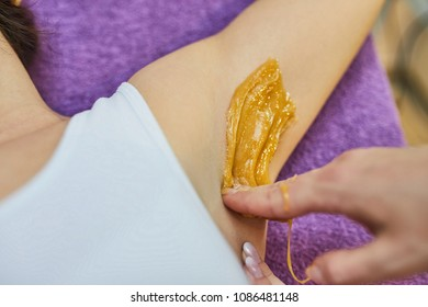 Depilation Of Armpit With Sugar Paste