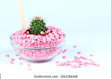 Depilatory Pearl Hard Wax Beans pink color, with cactus