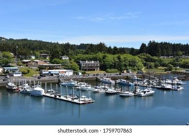DEPOE BAY, OR - JUN 9: Depoe Bay, the world's smallest harbor, in Oregon, USA, as seen on Jun 9, 2019.