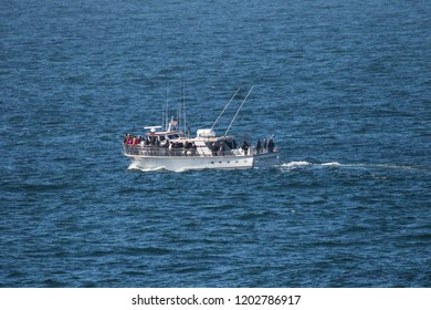 Depoe Bay, Oregon - 10/4/2018:  A whale watching boat loaded with whale watchers in the pacific ocean just off Depoe Bay Oregon.