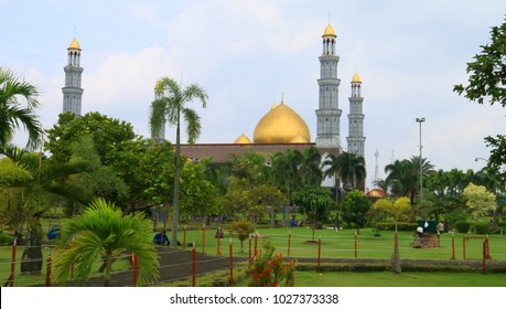 Depok, Indonesia - February 11, 2018: Dian Al-Mahri Mosque, also known as Golden Dome Mosque or Masjid Kubah Emas in Depok, West Java.