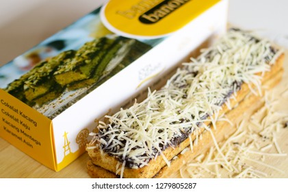 Depok, Indonesia - January 7, 2019: Jogja Scrummy. A blend of puff pastry and steamed brownies from Jogjakarta.