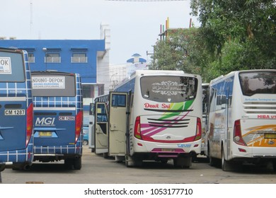 DEPOK, INDONESIA - March 10, 2017: Buses queuing at Terminal Depok.