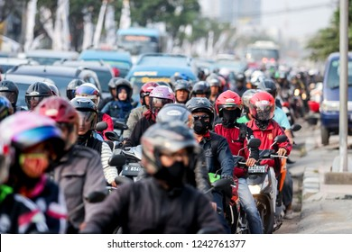 Depok, West Java/Indonesia - 15th 09 2015: Traffic Jam with Motorcycles
