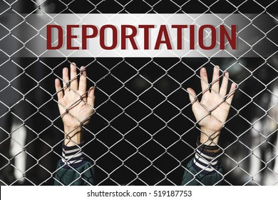 Deportation text of women and fence. Refugee concept