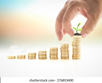Deposit account concept: Human hand adding a coin with sprout in stacks of golden coins over blurred white car on sunset background