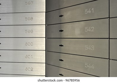 Deposit boxes in a bank vault