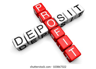 Deposit and Profit concept. Sign as crossword blocks on a white background