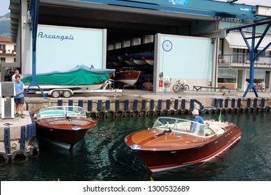 deposit shed of luxury riva motorboats on garda lake salò town italy 2018