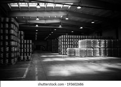 depository inside in a modern brewery, supply