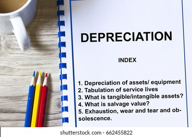Depreciation value of assets and equipment concept- with contents of a seminar.