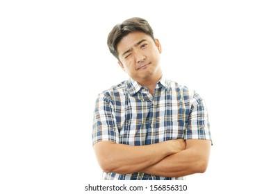Depressed Asian man.