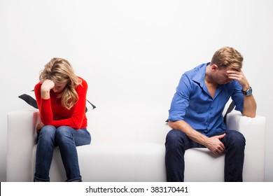 Depressed couple having problems