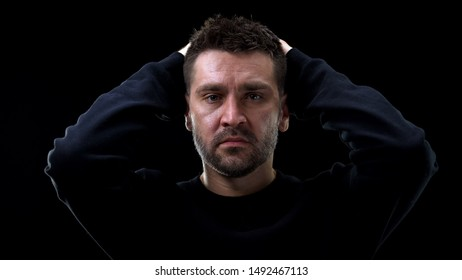 Depressed male feeling regret, admission of gilt, mental suffering, repentance